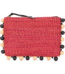 aranáz bead embellished clutch bag - red