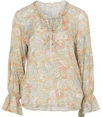 blus deep groove garden l/s blouse