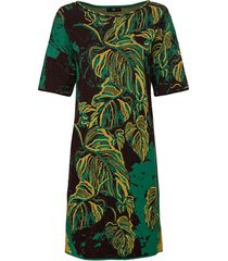 jacquard-gebreide jurk van bio-katoen met bladerendessin, groen-motief 38