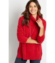 maurices womens solid turtle neck boyfriend pullover sweater red
