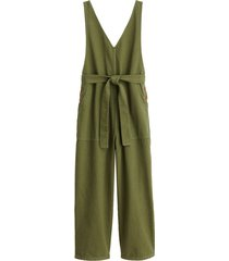 ollie upcycled denim overall in olive green