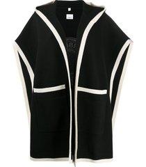 burberry logo jacquard hooded cape - black