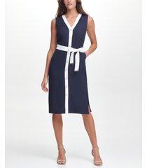 tommy hilfiger contrast-trim sheath dress