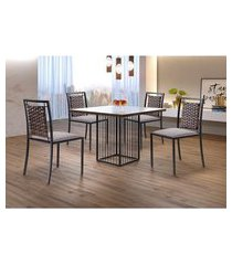 conjunto de mesa de jantar hera com tampo de vidro mocaccino e 4 cadeiras grécia ii linho bege e grafite