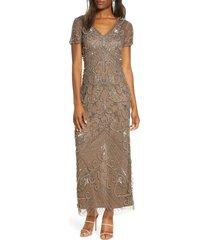 women's pisarro nights beaded mesh column gown, size 18 - beige