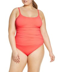 plus size women's la blanca island one-piece swimsuit, size 20w - blue
