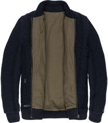 zip jacket cotton slub cable dark sapphire
