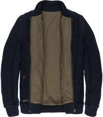 zip jacket cotton slub cable dark sapphire