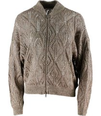 brunello cucinelli cardigan sweater with zip and sequins in linen and cotton for a three-dimensional and shiny effect