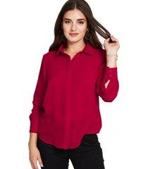 camisa básica botonera invisible rojo nicopoly