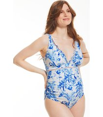 toulouse mindful maternity non-wired plunge ladder trim one-piece swimsuit