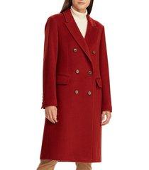 women's lauren ralph lauren double breasted reefer coat, size 0 - red