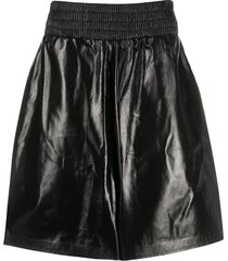 bottega veneta shiny leather shorts - black
