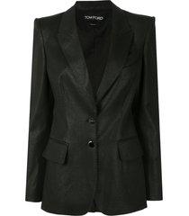 tom ford coated biker blazer - black