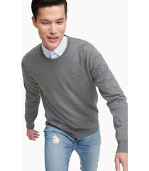 tommy hilfiger men's essential crewneck sweater medium grey heather - m