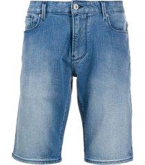 emporio armani slim-fit denim shorts - blue