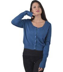 sweater spandex cuello redondo azul alexandra cid