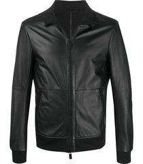 emporio armani funnel-neck zipped jacket - black
