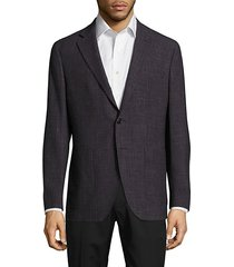 modern-fit wool & linen check jacket