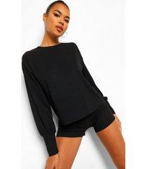 gebreide geribbelde jumpsuit met volle mouwen en shorts set, black