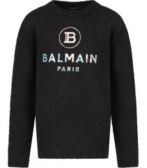 balmain black sweater with for kid silver logo