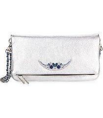 embellished leather convertible clutch