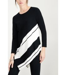 alfani petite striped asymmetrical tunic, created for macy's