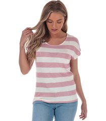 vero moda womens wide stripe t-shirt size 10 in pink