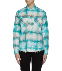 tie dye distressed hem plaid shirt