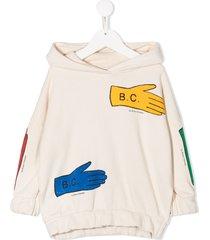 bobo choses lost gloves hooded sweatshirt - white