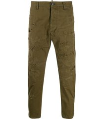 dsquared2 distressed cargo trousers - green