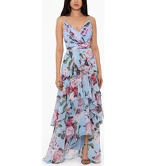 xscape floral ruffled gown