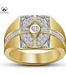 yellow gold plated 925 sterling silver round cut white diamond men's band ring