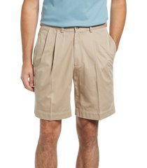 berle charleston pleated chino shorts, size 38 in khaki at nordstrom