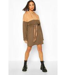 colour block hooded oversized dress, khaki
