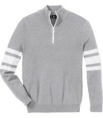 maglione con cerniera e cotone riciclato (grigio) - bpc bonprix collection