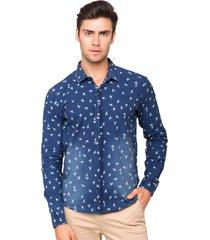 camisa slim fit tony menswear jeans estampada pássaros multicolorido