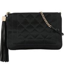 chanel pre-owned 2004 quilted tassel shoulder bag - black