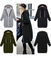 women warm zipper open hoodies sweatshirt long coat jacket tops outwear uk