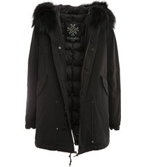 black parka midi with padded lining for woman