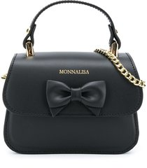 monnalisa bow-detail chain-link shoulder bag - black