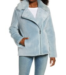 women's ugg nadine genuine toscana shearling short jacket, size x-small - blue