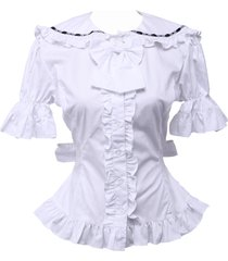 white cotton bow ruffle retro victorian sailor short sleeve lolita blouse