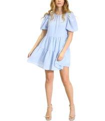 kit & sky puff-sleeve ruffle-hem babydoll dress