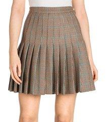 houndstooth virgin wool pleated skirt
