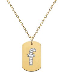 women's jane basch designs diamond initial dog tag necklace (nordstrom exclusive)