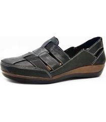 sandalia de cuero negra febo super confort