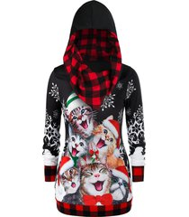 plus size plaid cat print christmas hoodie