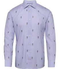 blue striped twill shirt – anubis embroidery overhemd casual blauw eton