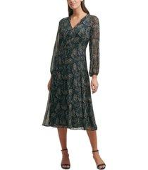 tommy hilfiger printed chiffon midi dress